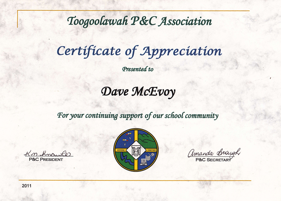 Certificates of appreciation skydive ramblers toogoolawah pc assoc eskapees cancer support yelopaper Images