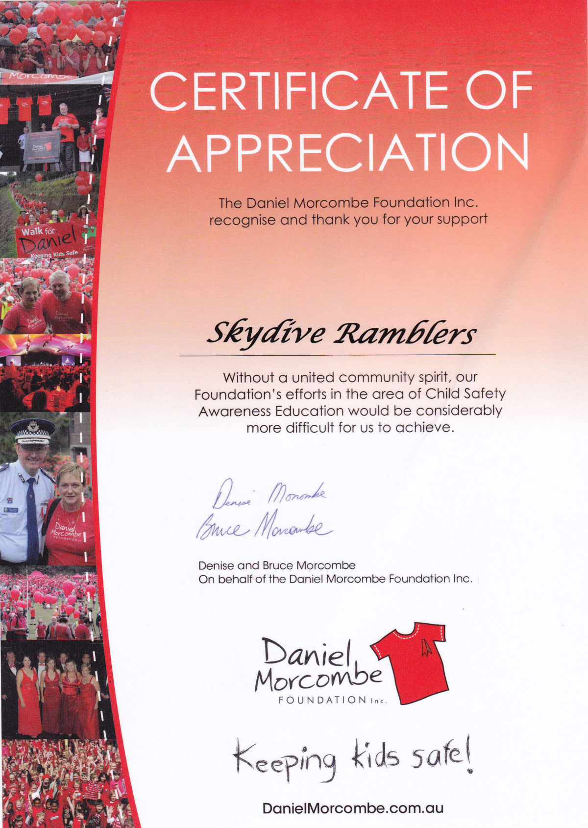 Certificates of appreciation skydive ramblers daniel morcombe foundation yadclub Image collections