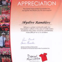Ramblers Cert. of Appreciation - Daniel Morcombe Foundation