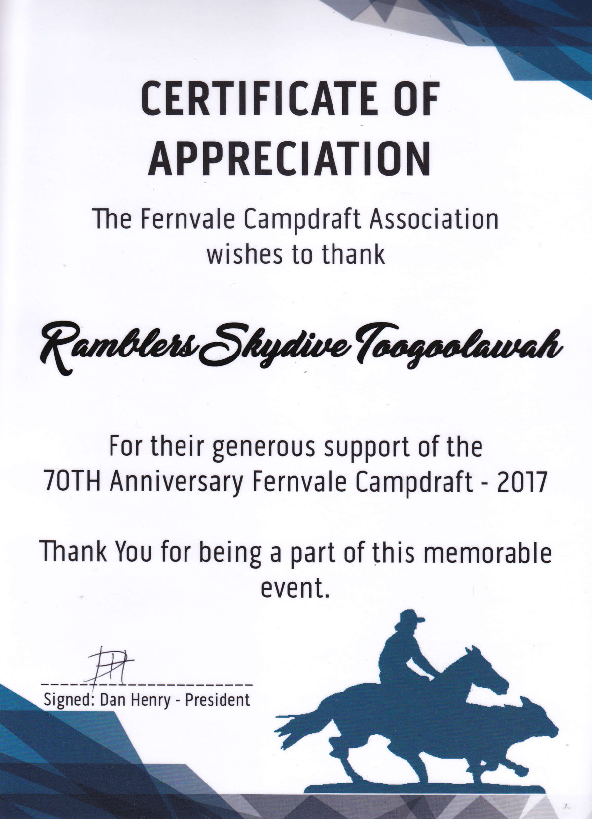 certificates of appreciation skydive ramblers