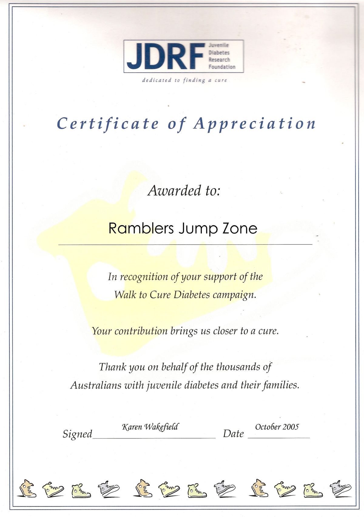 Certificates of appreciation skydive ramblers juvenile diabetes research foundation yadclub Image collections