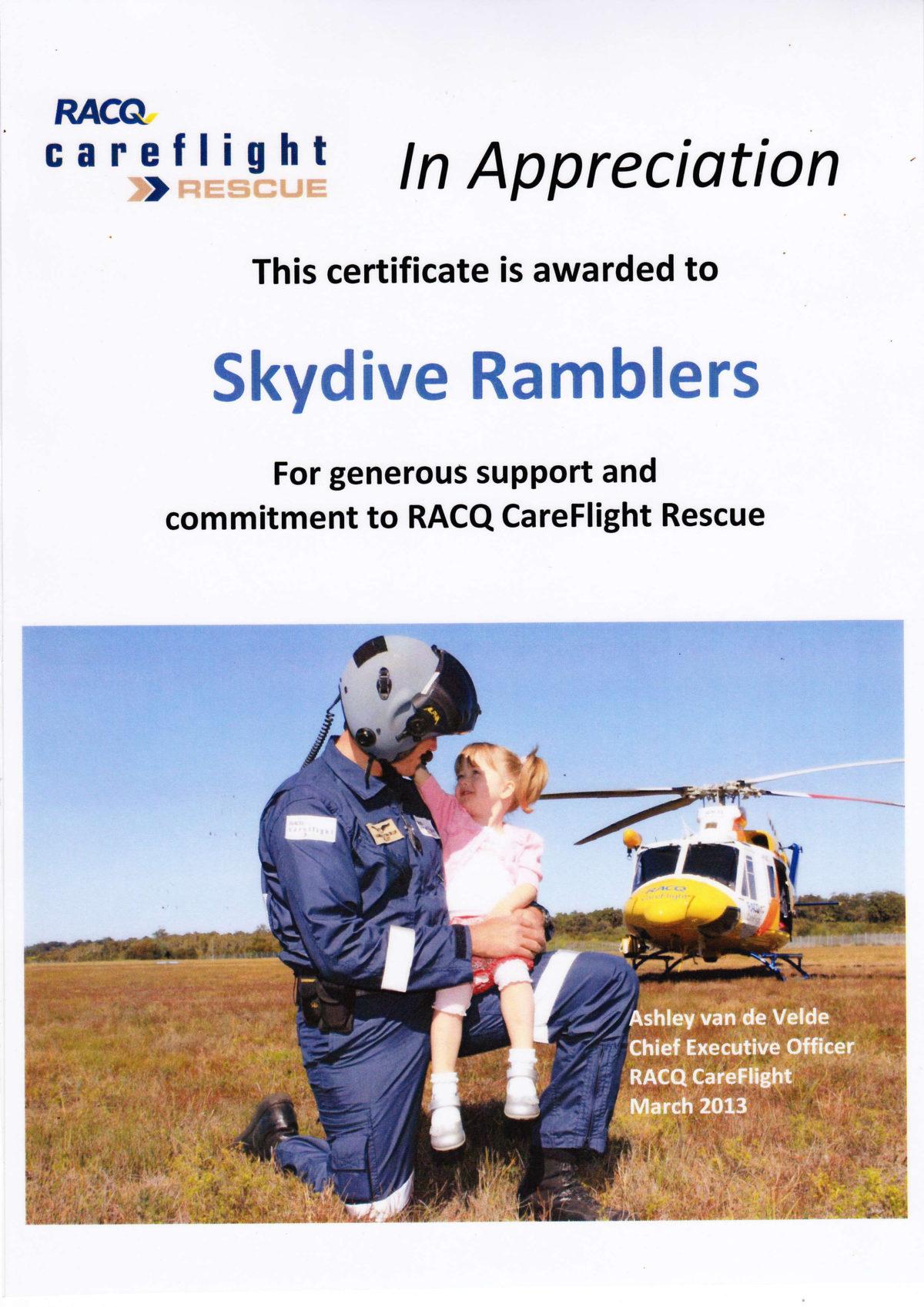 Ramblers Certificate of Appreciation - RACQ Careflight Rescue - March 2013