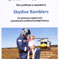 Ramblers Certificate of Appreciation - RACQ Careflight Rescue - March 2013