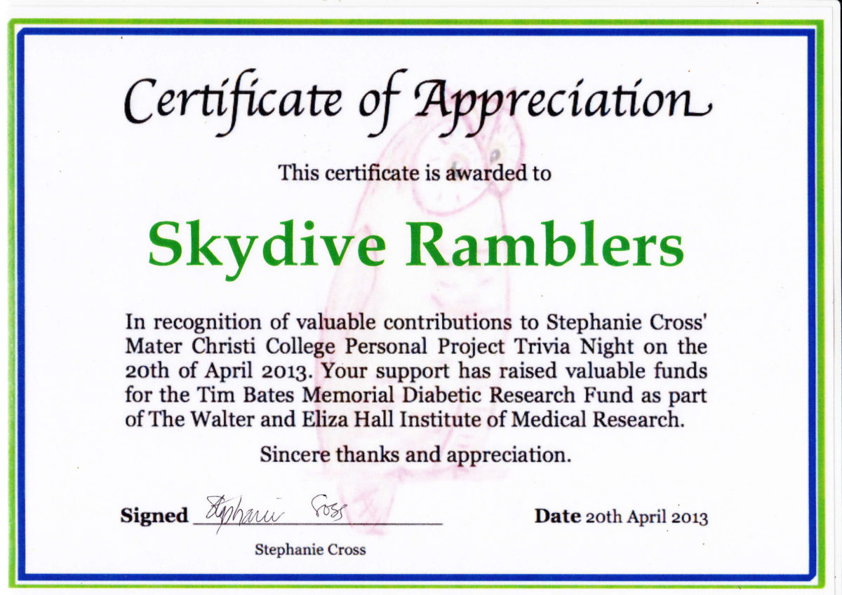 Certificates of appreciation skydive ramblers stephanie cross mater christi college yelopaper Gallery