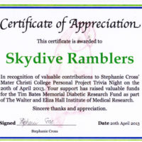 Ramblers Cert. of Appreciation - Stephanie Cross' Mater Christi College 2013-04-20